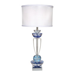 "Van Teal - Van Teal Every Moment Sea Glass Blue Table Lamp - The Every Moment table lamp melds contemporary style with relaxed coastal elegance. Circular and bowl shaped clear accents are finished in vibrant sea glass blue and are complemented by a chrome finish pedestal base. The design is topped with a soft back silvery white organza shade for a beautiful modern finish. Sea glass blue and chrome finishes. Contemporary design. Soft back organza shade. Takes one 150-watt 3-way bulb (not included). 34"" high. Shade is 16"" round 10"" high.  Sea glass blue and chrome finishes.   Contemporary design.   Soft back organza shade.   Takes one 150-watt 3-way bulb (not included).   34"" high.   Shade is 16"" round 10"" high."