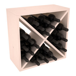 """Wine Racks America - 24 Bottle Wine Storage Cube in Ponderosa Pine, White Wash Stain - A wine rack focused on flexibility; buy 1 or buy 100. Perfect for stacking, filling small spaces, and converting that """"underneath"""" space into wine storage. Mix and match finishes to illustrate your true wine-lover's spirit or contrast colors for a modern wine rack twist."""