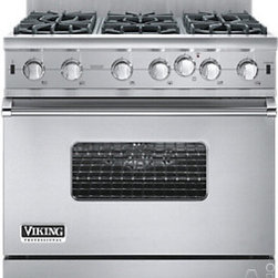 "Viking Professional Custom Series 36"" - Pro-Style Gas Range with 6 Open Burners, VariSimmer Setting, 5.1 cu. ft. ProFlow Convection Oven, Gourmet-Glo Infrared Broiler and SureSpark Ignition System: Stainless Steel"