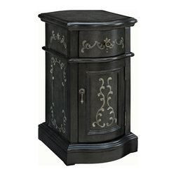 Adarn Inc - Small Classic Exquisite Hand Painted Grey Chairside Storage Cabinet Table - The Hand Painted Chairside Cabinet adds some sophistication and class to any room. The classically shaped cabinet features hand painted floral patterns adorning the drawer and door faces. Antique Brass hardware accents the vintage distressed appearance. The perfect piece to add to any entryway, hall, bedroom or living area. Fully Assembled.
