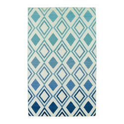 """Kaleen - Blue Glam Diamond Rug, 2'6""""x8' - The Glam collection puts the fab in fabulous! No matter if your decorating style is simplistic casual living or Hollywood chic, this collection has something for everyone! New and innovative techniques for a flatweave rug, this collection features beautiful ombre colorations and trendy geometric prints. Each rug is handmade in India of 100% wool and is 100% reversible for years of enjoyment and durability."""