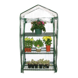 Alpine Fountains - 3-Tier Mini Green House - Plastic cover provides optimal conditions for plants. Can be used to start new seedlings. Keeps plant protected. 27 in. L x 19 in. W x 49 in. H (8.6 lbs.). Assembly InstructionOur portable greenhouses are a perfect size for the patio or indoors in front of a window. Use it to start new seedlings or to keep plants protected year round. The plastic cover creates the optimal growing conditions for your plants.