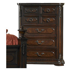 Homelegance - Homelegance Spanish Bay 42 Inch Chest in Dark Brown Cherry - The Spanish Bay collection exemplifies the best of Old Europe. Raised ash burl veneer panels are applied to each drawer front. Antiqued brass hardware adds a distinctive detail which subtly contrasts with the dark brown cherry finish. Every case piece features graceful acanthus carvings with marble tops on both the dresser and night stand. The focal point of Spanish Bay is the low post bed which incorporates the many design elements of the other items in the collection and brings added flare with oversized carved finials and a one of a kind floral and leaf carving overlayed on the cherry veneer headboard. Bring home Spanish Bay and bring home the grandeur of European heritage.