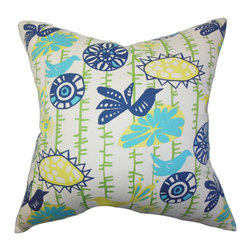 """The Pillow Collection - Nettle Floral Pillow Yellow Blue 18"""" x 18"""" - Cover your bed, couch or floor with this stunning square pillow. A lovely addition to your living space, this throw pillow features floral and animal prints in shades of white, blue, green and yellow. Pair with solids and other patterns for an appealing interior style. Made in the USA, this 18"""" pillow is made from 100% plush cotton material. Hidden zipper closure for easy cover removal.  Knife edge finish on all four sides.  Reversible pillow with the same fabric on the back side.  Spot cleaning suggested."""