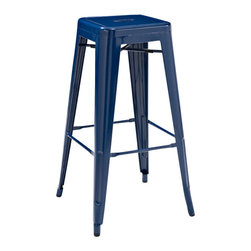 Crosley Furniture - Crosley Furniture Amelia Metal Cafe Barstool in Blue - Set of 2 - Originally made famous in the quaint bistros of France, these midcentury replicas of original Cafe seating will offer a dose of nostalgia combined with careful consideration for your wallet.  This inspired revival evokes a sense of a true vintage find. (Sold in Pairs)