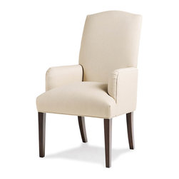 Jessica Charles - Petra Arm Chair - Sandalwood Finish - Canter Fog Fabric - Handmade in North Carolina using local, sustainable hardwood.  Hand applied wood finish.  Artisan upholstery and custom fit cushions.  Eight-way hand tied coils.