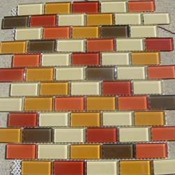 B18 Brown, Red, Orange Glass Mosaic Tile - Brown, Red, Orange Glass Mosaic Tile B18