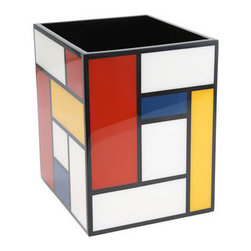 Pacific Connections Mondrian Waste Basket - If you are a fan of Mondrain, you'll love adding some modern color to your home office with this artful wastepaper basket! It's also the perfect can for a child's room or playroom.