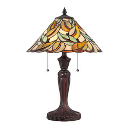 Quoizel - Quoizel Bronze Patina Lamps - SKU: TF1428T - No green thumb required to enjoy the beauty of the organically inspired Gardner lamp. The Tiffany-style shade is comprised of 186 pieces of art glass that are copper-foiled using the same techniques developed by Louis Comfort Tiffany. A handsome Bronze patina on the base complements the neutral tones. The lamp stands 23 inches high and is lamped with two 75-watt, medium-base bulbs.