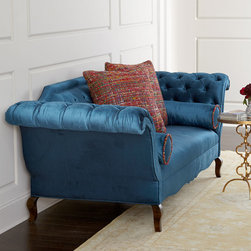"""Haute House - Orion Chippendale Sofa - MEDIUM BLUE - Haute HouseOrion Chippendale SofaDetailsEXCLUSIVELY OURS.Sofa inspired by iconic Chippendale styling.Alder wood frame with polyester/rayon upholstery.Button tufting on the inside arms and back; uninterrupted seat cushion.98""""W x 37""""D x 36""""T; seat 18.5""""T.Handcrafted in the USA of imported materials.Boxed weight approximately 259 lbs. Please note that this item may require additional delivery and processing charges.Designer About Haute House:Haute House is a Hollywood-based design and manufacturing company that creates haute couture furnishings for the home. Designer and owner Casey Fisher has been designing furniture for years as an upholstery textile and retail space stylist. Instead of designing a line offering just one look the Haute House line consists of three looks that offer something for every taste. However there is one element present in every Haute House design a great sense of style."""