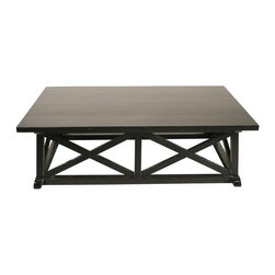 Noir - Noir - Sutton Coffee Table, Hand Rubbed Black - Hand Rubbed Black Mahogany Wood
