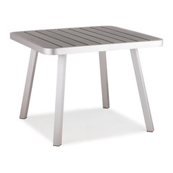 ZUO VIVA - Township Square Dining Table Brushed Aluminum - The Township Long Table has a sturdy brushed aluminum frame and a slatted faux wood top.