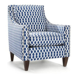 Homeware Chairs - Meditation chair. Contemplating life's unanswered questions? From world peace to tonight's dinner? Best to get your bearings from a sound starting point. Like the Pryce chair. It reconciles opposites: It's comfortable and gorgeous. Long, modern track arms are outlined in a double row of pewter nailhead trim. Loose pillow back. Sturdy but tapered legs. You can figure things out in a chair like this.