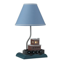 Cal Lighting - Juvenile Fishing Boat Lamp w 7W Night Light - Requires 60W bulb & 7W night light bulb (not included). Fish boat lamp. Height: 21 in.. Base: 10 in. x 7 in.