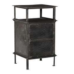 Steel End Table, Black - Looking as though it was rescued from a burned out old warehouse, this industrial-style steel end table will certainly make a bold statement. This end table features an open display shelf above a wire-mesh enclosed cabinet with another shelf for additional, semi-hidden storage. The wire mesh door has a traditional matched loop closure which can be secured with your own lock if desired. Simple post feet and a distressed, nearly black finish complete the rugged look.