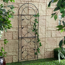 Coral Coast Willow Creek Metal Trellis - Black - Give your favorite flowers and plants the support they need to grow with the Coral Coast Willow Creek Metal Trellis - Black. Constructed of durable steel and featuring a classic black finish this trellis makes a subtle but attractive focal point in your backyard. Built into the design are delicate vines and graceful curves. With reliable ground stakes you can set this trellis up anywhere. It's also ideal for breaking up the monotony of a long backyard fence. Some simple assembly is required. About Coral Coast What if when you closed your eyes you pictured yourself in your own backyard? Coral Coast has a collection of easygoing affordable outdoor accessories for your patio pool or backyard. The latest colors and styles mingle with true classics in weather-worthy fabrics and finished woods ready for relaxation. Make yours a life of leisure.