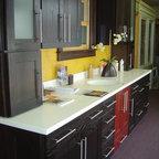 "Schrock - Showroom displays - Cabinetry is Schrock Huxley, ""Chocolate"" on Oak"