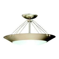 Modern Semi-Flushmount Light with White Glass in Brushed Nickel Finish -