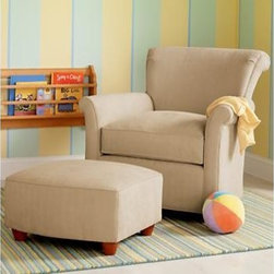 Tan Upholstered Swivel Rocking Glider Chair - Reminiscent of a traditional upholstered rocker, this swivel glider moves all over, and with the ottoman provides a special space to cuddle with your newbie. Not to mention how fabulous it looks when not in use in a stylish nursery space. And, and: a machine washable slipcover!