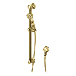 "Pioneer - Pioneer 6AM400-PB Handheld Shower Set In An Elegant Polished Brass Finish - The 6AM400-PB Handheld Shower Set is a part of the Americana Series. This handheld shower set features a single-function handheld shower head, a 25-1/4"" slide bar with brass mounts, a 60"" stainless steel flex hose, and a brass drop ell with vacuum breaker. The Americana Series embodies a rustic, country farmhouse feel, giving you style, grace, and quality craftsmanship. It comes in a highly-reflective, Polished Brass finish."