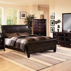 Crown Mark - 5-PC w/ 2-NS Tomas Queen Bedroom Set w/ Bycast Leather HB and FB - - Contemporary Style