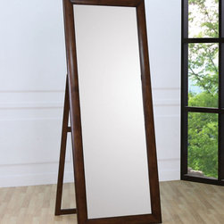 Coaster - Hillary Standing Mirror - The Hillary Collection is crafted from solid hardwood with Maple veneers. It is finished in warm brown. All drawers have bevelled woods fronts and are accented with brushed nickle hardware.