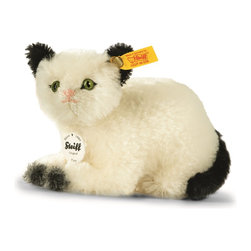 Steiff - Steiff Kitty Cat - Steiff Kitty Cat is made of the finest white and black mohair.  Ages 12 and up. Handmade by Steiff in Germany.