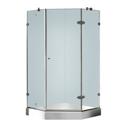 Vigo - Vigo 38 x 38 Frameless Neo-Angle 3/8in.  Clear/Brushed Nickel Shower Enclosure w - Both dramatic and space-saving, the Vigo frameless neo-angle shower enclosure creates a beautiful focal point for your bathroom.