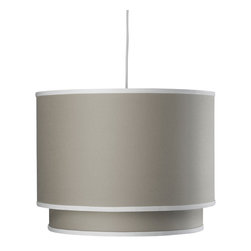 Oilo - Solid Double Cylinder, Taupe - The double drum shade is a fresh take on the classic drum design. The interior shade adds visual interest and color to the overall look. And a white acrylic sheet diffuses the light and gives you soft illumination in any room.