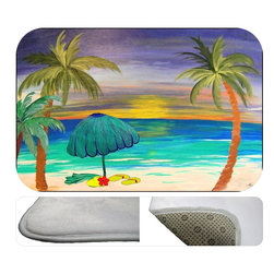 Beach Days Bath Mat, 20X15 - Bath mats from my original art and designs. Super soft plush fabric  skid backing. Eco friendly water base dyes that will not fade or alter the texture of the fabric. Washable 100 % polyester and mold resistant. Great for the bath room or anywhere in the home. At  1/2 inch thick our mats are softer and more plush than the typical comfort mats.Your toes will love you.