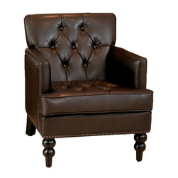 Great Deal Furniture - Medford Marble Brown Leather Club Chair - The Medford Marble Brown Leather Club Chair's tufted back, nailhead accents and hand carded legs provide an elegant look for any room. With a marble brown leather that matches your existing decor, you can relax in our Medford chair in any room.
