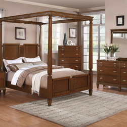 "Coaster - Jayden 5Pc California King Canopy Bedroom Set in Light Cherry Finish - Humble styling accented with traditional detail defines the Jayden bedroom collection. Every item features tapered feet, creating a subtle contrast against each piece's straight lines and simple silhouette. Metal drawer pulls on each drawer add polish, while the drawers provide excellent storage for your clothing or bedroom accessories. Grand in size and design, with a light cherry finish for a more inviting appearance, this dramatic canopy bed completes your bedroom with a welcoming and regal nature.; This set includes bed, nightstand, dresser, mirror and chest.; Traditional Style; Light Cherry Finish; Dimensions: Bed: 91.50""L x 75.50""W x 85""H; Nightstand: 29.50""L x 18""W x 26""H; Dresser: 66.75""L x 18.75""W x 40""H; Mirror: 45.50""L x 1.50""W x 39""H; Chest: 37.50""L x 18.75""W x 53.50""H"