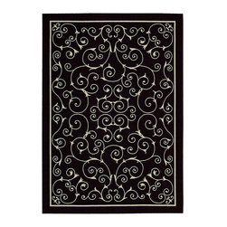 """Nourison - Nourison Home & Garden RS019 5'3"""" x 7'5"""" Black Area Rug 11205 - Modern scrollwork in crisp linen white dances across an ebony field. This chic update on a traditional design lends a fashionable twist to all styles of decor. Subtle yet eye-catching, it's a look you'll love to live with indoors or out."""