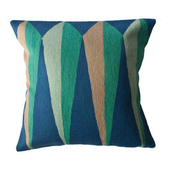 Leah Singh - Zimbabwe Root Spring Pillow - Inspired by the shapes and colors of different flags, these colorful geometric pillows are hand-embroidered by women artisans in north India.