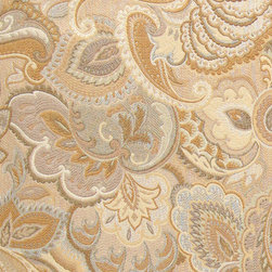 Gold and Beige, Abstract Floral Upholstery Fabric By The Yard - This contemporary upholstery jacquard fabric is great for all indoor uses. This material is uniquely designed and durable. If you want your furniture to be vibrant, this is the perfect fabric!