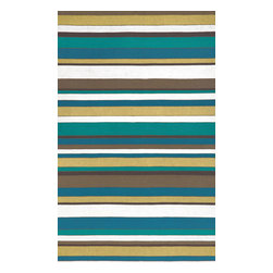 """Trans-Ocean - Coastal Stripe Summer 24"""" x 36"""" Indoor/Outdoor Flatweave Rug - The highly detailed painterly effect is achieved by Liora Mannes patented Lamontage process which combines hand crafted art with cutting edge technology. These rugs are Hand Made of 100% Polyester fibers that are intricately blended together using Liora Manne's patented Lamontage process. They are then finished using modern needle punching and latexing processes that create a work of art that is practical. The flat simple nature of these Lamontage rugs is an ideal base with which to create a rug that is at the same time a work of art. Perfect for any Indoor or Outdoor space, they are antimicrobial,  UV stabilized, and easy care."""