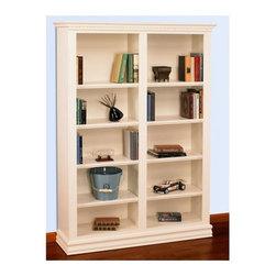 A & E Wood Design - Hampton 72 in. Double Bookcase in Pearl White - Made in USA. Premium all wood double wide bookcases. Solid  hardwoods & 3/4 in. premium grade plywood materials. No particle board. Adjustable plywood shelves. Heavy 150 lbs test non bow shelves. All shelves have mortise & tenon 1 .5 in. solid wood detail trim. Solid wood tops. Face frame and base & top molding trim. Premium multi coat durable laquer finish. Good appearance and construction. Screw assembly. Heavy top and bottom trim casings. Flutted side columns and dental molding top decorative detail. Pearl white finish. Dimenions: 48 in. W x 13 in. D x 72 in. H (135 lbs.)