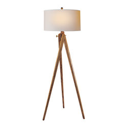 Tripod Floor Lamp, French Wax - A chic tripod floor lamp is the perfect lighting solution for a sophisticated living room or home office. Choose between a natural or rich brown finish for a classic look. An elegant natural paper shade completes the effortless design.