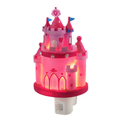 Children`s Pink Princess Castle Night Light Nite Lite - This pretty pink castle night light adds a sweet accent to the room while providing a comforting glow in the nighttime hours for your little princess. Made of cold cast resin, it measures 6 inches tall, 3 1/4 inches wide, and 2 inches deep. It has a 360 degree swivel plug to accommodate any outlet, and it uses a 7 watt (max) type C night light style bulb (included). The light has an on/off switch on the front, and is recommended for children ages 6 and up.