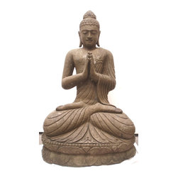 Trade Wind Statues Inventory - 4ft Tall Solid Hand Carved Stone Sitting Garden BUDDHA STATUE with Greeting Pose - Perfect Zen Asian Decor for Home, Garden, or Business Design #563