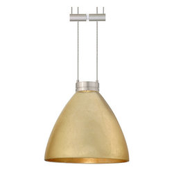 Besa Lighting - Besa Lighting 1XA-1779GF Mia 1 Light Halogen Cable-Hung Pendant - Mia has a classical bell shape that complements aesthetic, while also built for optimal illumination. Our Gold Foil glass is sparkling and metallic. Distressed metal foil is applied to the inner surface of a glossy clear blown glass. This decor is full of textured and depth, however the outer surface of the glass is smooth. When lit the glass comes to life, as the distressed foil allows glimpses of light to pass through. This blown glass is handcrafted by a skilled artisan, utilizing century-old techniques passed down from generation to generation. Each piece of this decor has its own artistic nature that can be individually appreciated. The 12V adjustable pendant fixture is equipped with 8' of bare silver-color braided cable, spring-loaded cable adjuster, quick connect jack and low profile flat monopoint canopy.Features: