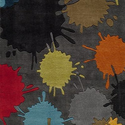 Momeni - Momeni Lil Mo Hipster Lmt9 Grey Rug - The ultra-hip elements are captured to make 'Lil Mo Hipster the ultimate 'tween collection. Comic book inspired waves, bold millifleur and edgy skaters adorn these hand-tufted mod-acrylic pieces. A funky use of color makes these the perfect complement to any up and coming hipster's decor!