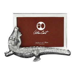 Arthur Court - Alligator PF 4 X 6 - Frame your photo with sculptural details, when you use this aluminum alligator to highlight your favorite memory. This sleek reptilian frame will fit a four by six photo.