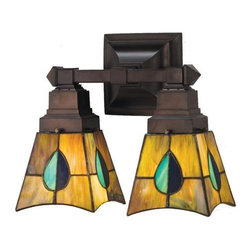 Meyda Tiffany - Mackintosh Leaf Wall Sconce w 2 Lights - Requires two medium type 60 watt bulb. Mission tiffany arts and crafts mackintosh theme. Mahogany bronze hand finish hardware. Green, blue aqua, green purple and blue finish. 11.75 in. W x 6 in. D x 10.25 in. H (3.5 lbs.). Instructions Manual. Care InstructionsThe mackintosh leaf stained glass one light sconce has a striking leaf design of heather, purple, highland teal and peacock feather green glass. the shade is inspired by a famous design from Scottish nouveau artist charles rennie mackintosh.