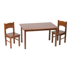 Gift Mark - Gift Mark Home Kids Natural Hardwood Rectangle Table And Chair Set Cherry Finish - The Gift mark Table and 2 Chair Sets are Made of Solid Wood. These Durable Table and Chair Sets will add a touch of sophistication to any child's room or Play Room. Intended specifically for your Child. Children Play for Hours on end. Our Solid Wood Table and Chair Sets clean easily with any High Quality Furniture Polish.