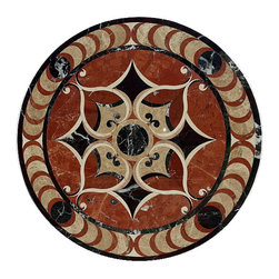 Marble Waterjet Floor Medallion Tile Marble Inlay, 19.75 Inches - Item Description