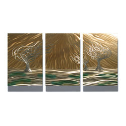 """Miles Shay - Metal Wall Art Decor Abstract Contemporary Modern Sculpture- 3 Trees 47"""" - This Abstract Metal Wall Art & Sculpture captures the interplay of the highlights and shadows and creates a new three dimensional sense of movement as your view it from different angles."""