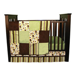 """Trend Lab - Giggles - 3 Piece Crib Bedding Set - Trend Lab's Giggles 3 Piece Crib Bedding Set pairs free form contemporary circles and dots with a classic multi-stripe print in today's most popular unisex color palette. Sage green, buttercup, chocolate, caramel and white are displayed throughout the interesting prints, while chocolate brown and sage green velour provide snuggly accents and texture. The mixture of soft fabrics and fun prints creates a versatile nursery to welcome any little boy or girl!. Set includes quilt, crib sheet and skirt. The quilt measures 35"""" x 45"""" and features patches of free form circle and stripe prints in sage, buttercup, chocolate, caramel and white alongside soft chocolate and sage velour. A chocolate velour trim adds the finishing touch. Sage crib sheet features 10"""" deep pockets and fits a standard 52"""" x 28"""" crib mattress. Elastic around the entire opening ensures a more secure fit. Box pleat skirt with 10"""" drop features strips of the sage, buttercup, chocolate, caramel and white free form circle and stripe prints separated by chocolate velour. Matching Giggles Crib Bumpers sold separately. Complete your nursery with coordinating room accessories from the Giggles collection by Trend Lab."""