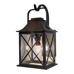 Forged Lighting - Newport Exterior Lantern - Enjoy your front porch well after nightfall with the cottage appeal of this rustic lantern. Inspired by traditional New England style, this hand-forged steel light fixture would brighten up Colonial to coastal abodes.