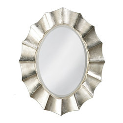 Howard Elliott - Corona Silver Oval Mirror - Our Corona mirror is an oval mirror bordered by a rippling wave design created in a resin frame. The piece is then finished with a silver leaf giving the mirror its bold contemporary appeal.